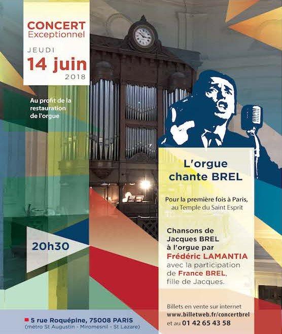 Participez au concert Jacques Brel au profit de la restauration de l'orgue