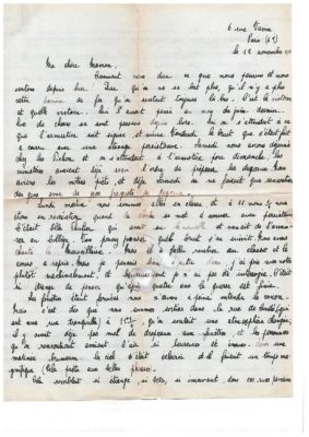 L'armistice vécu par une jeune paroissienne du St-Esprit