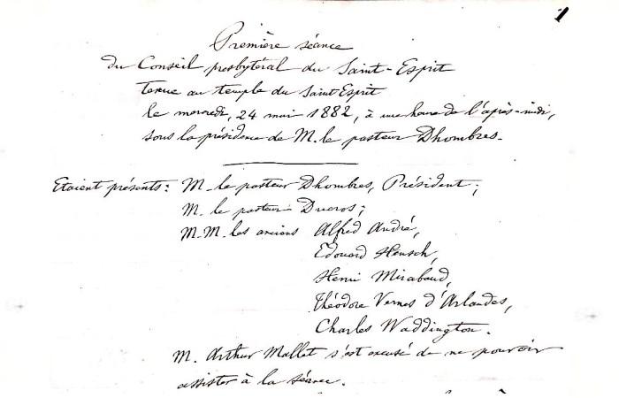"""Archive historique : """"PV du 1er Conseil Presbytéral de la paroisse du Saint-Esprit"""""""