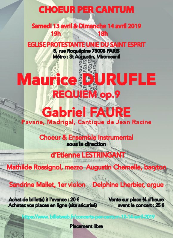 """Concert PER CANTUM : """"Requiem"""" de Duruflé les 13 et 14 avril"""