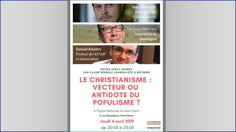 """Conférence-débat Jeudi 4 avril à 20h : """"le christianisme, vecteur ou antidote du populisme ?"""""""