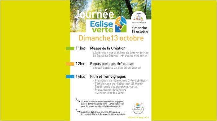 Dim 13 Octobre : journée Eglise Verte