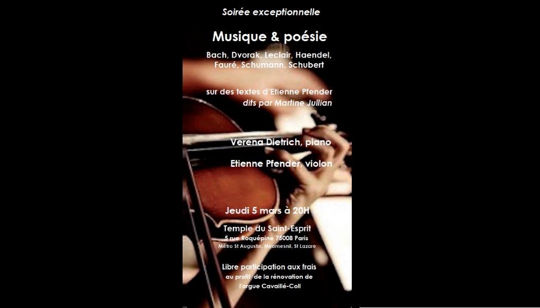 Soirée exceptionnelle : Musique et Poésie