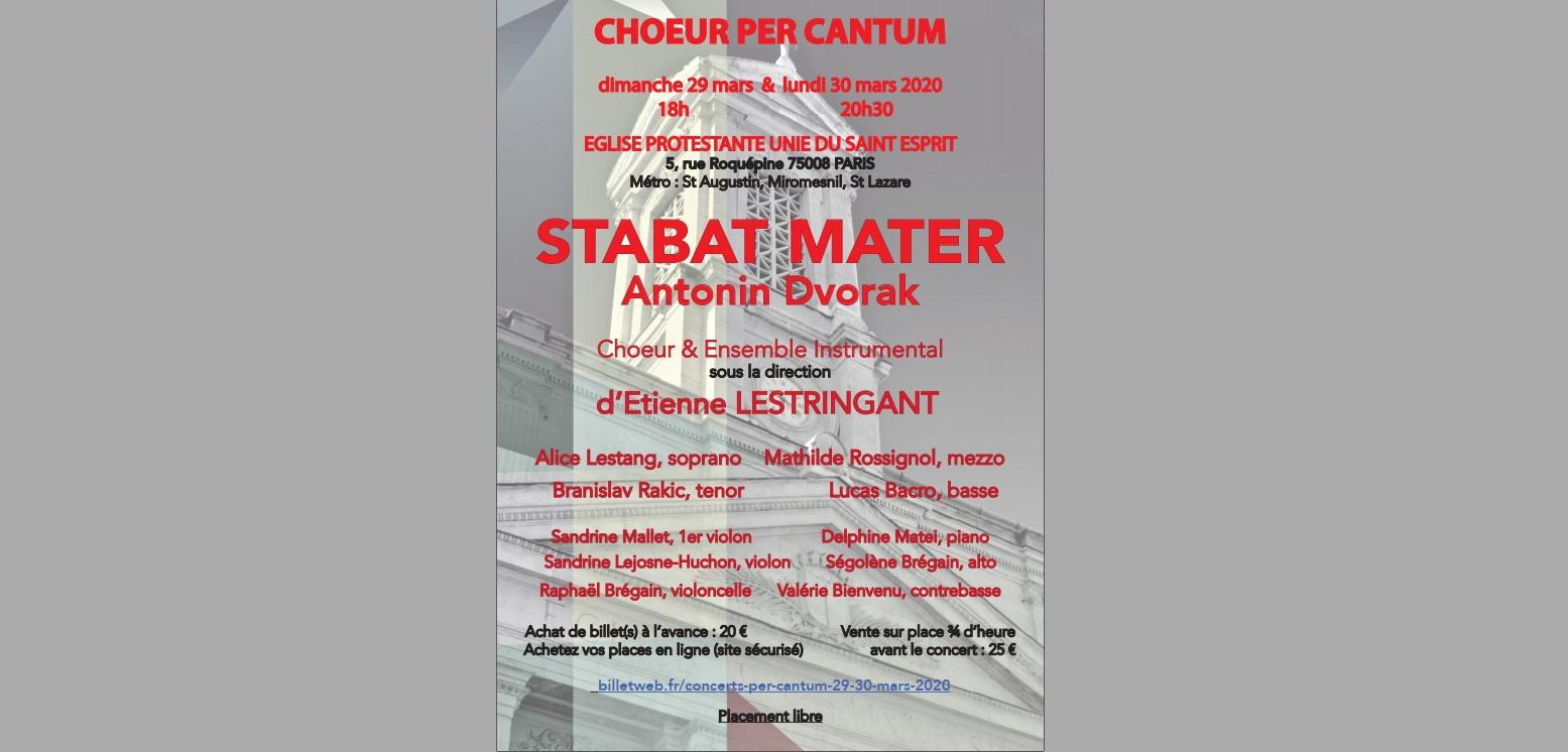 """Concert PER CANTUM : """"Stabat Mater"""" de Dvorak REPORTE en novembre 2020"""